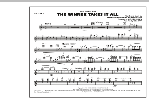 """The Winner Takes It All (from """"Mamma Mia!"""") - Flute/Piccolo (Marching Band)"""