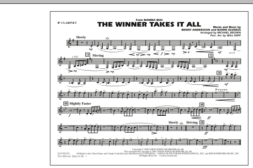 "The Winner Takes It All (from ""Mamma Mia!"") - Bb Clarinet (Marching Band)"