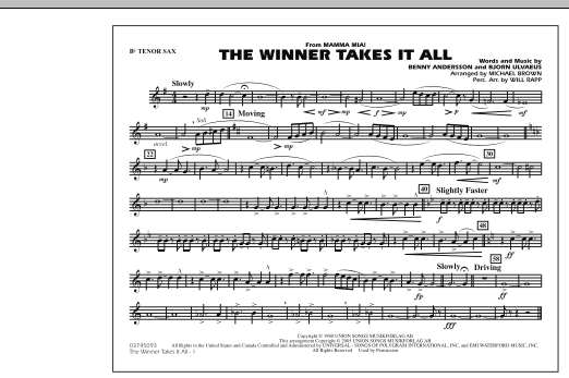 "The Winner Takes It All (from ""Mamma Mia!"") - Bb Tenor Sax (Marching Band)"