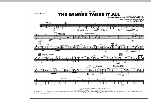 "The Winner Takes It All (from ""Mamma Mia!"") - 1st Bb Trumpet (Marching Band)"