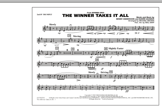"The Winner Takes It All (from ""Mamma Mia!"") - 2nd Bb Trumpet (Marching Band)"