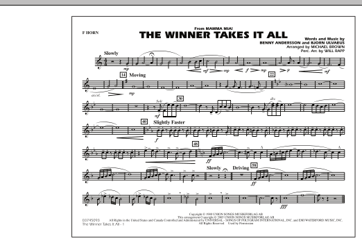 """The Winner Takes It All (from """"Mamma Mia!"""") - F Horn (Marching Band)"""