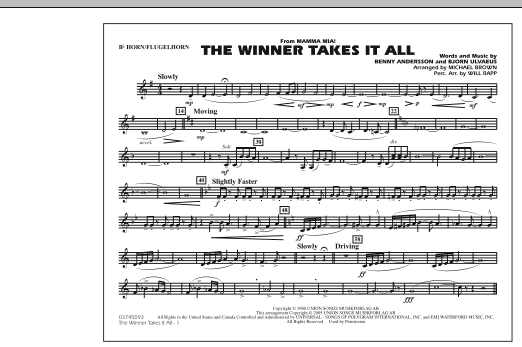 """The Winner Takes It All (from """"Mamma Mia!"""") - Bb Horn/Flugelhorn (Marching Band)"""