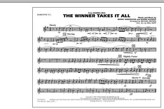"The Winner Takes It All (from ""Mamma Mia!"") - Baritone T.C. (Marching Band)"