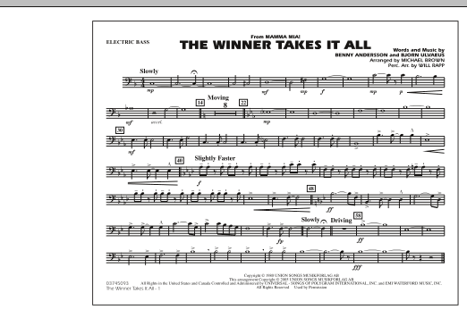 """The Winner Takes It All (from """"Mamma Mia!"""") - Electric Bass (Marching Band)"""