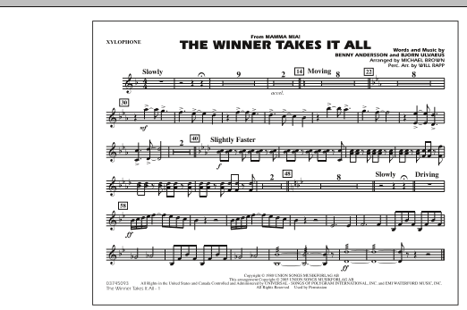 "The Winner Takes It All (from ""Mamma Mia!"") - Xylophone (Marching Band)"