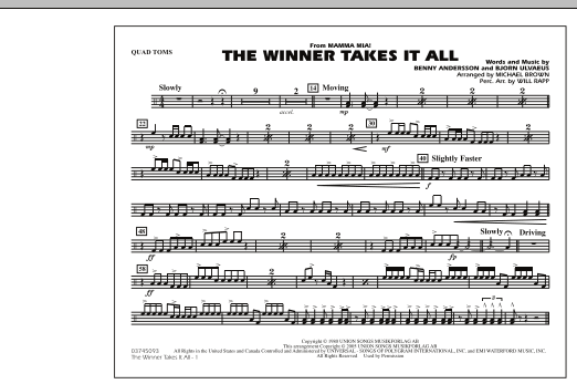 "The Winner Takes It All (from ""Mamma Mia!"") - Quad Toms (Marching Band)"