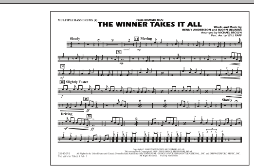 "The Winner Takes It All (from ""Mamma Mia!"") - Multiple Bass Drums (Marching Band)"