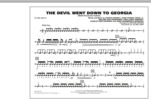 The Devil Went Down to Georgia - Snare Drum (Marching Band)