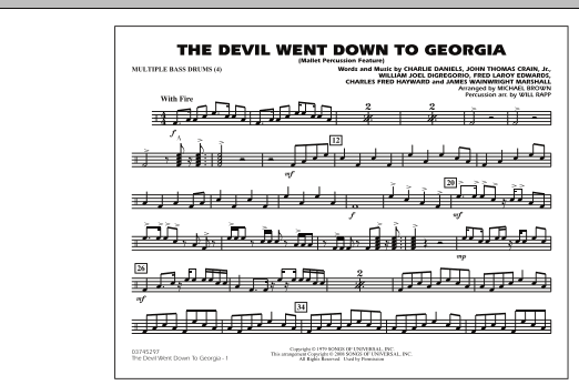 The Devil Went Down to Georgia - Multiple Bass Drums (Marching Band)