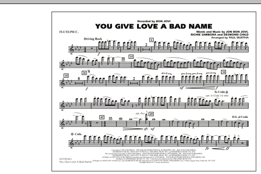 You Give Love a Bad Name - Flute/Piccolo (Marching Band)