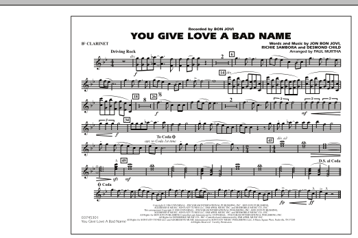 You Give Love a Bad Name - Bb Clarinet (Marching Band)