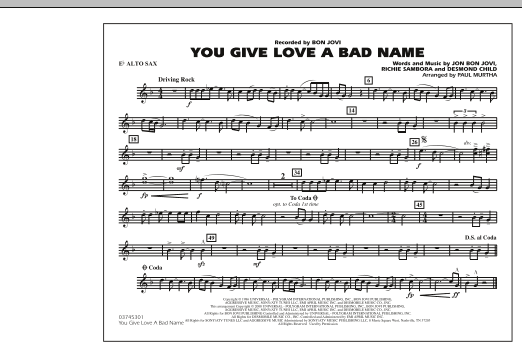 You Give Love a Bad Name - Eb Alto Sax (Marching Band)