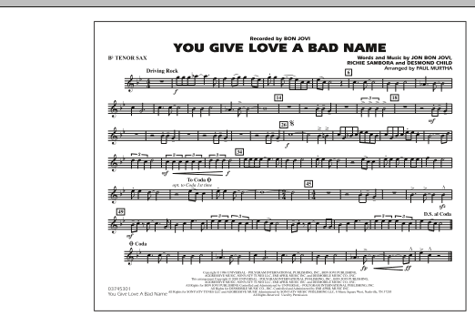 You Give Love a Bad Name - Bb Tenor Sax (Marching Band)