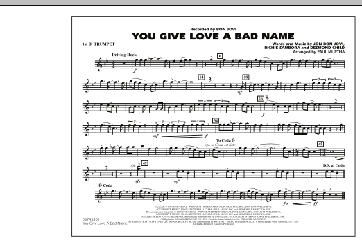 You Give Love a Bad Name - 1st Bb Trumpet (Marching Band)