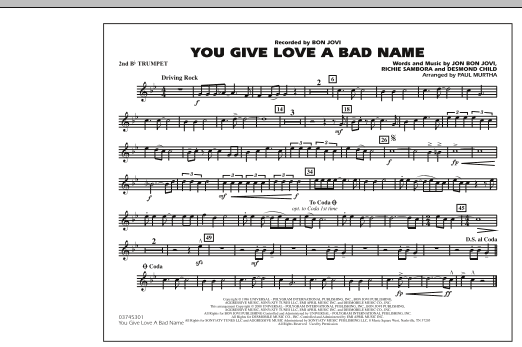 You Give Love a Bad Name - 2nd Bb Trumpet (Marching Band)