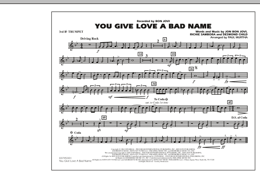 You Give Love a Bad Name - 3rd Bb Trumpet (Marching Band)