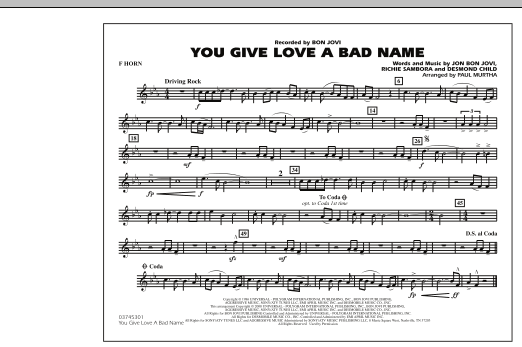 You Give Love a Bad Name - F Horn (Marching Band)