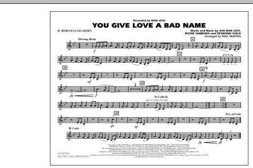 You Give Love a Bad Name - Bb Horn/Flugelhorn (Marching Band)