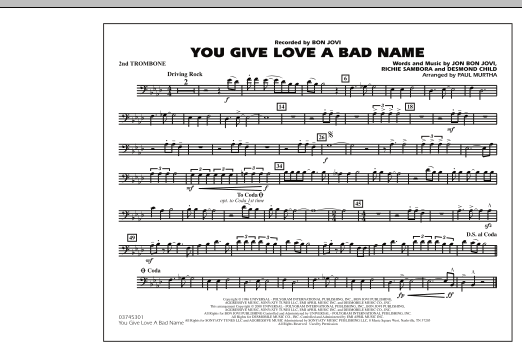 You Give Love a Bad Name - 2nd Trombone (Marching Band)