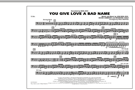 You Give Love a Bad Name - Tuba (Marching Band)