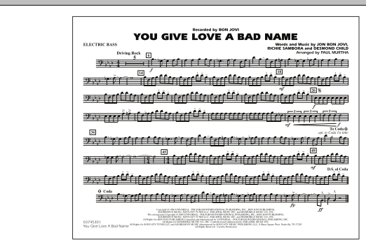 You Give Love a Bad Name - Electric Bass (Marching Band)