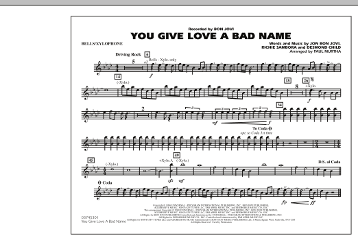 You Give Love a Bad Name - Bells/Xylophone (Marching Band)