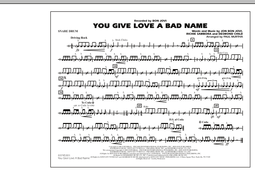 You Give Love a Bad Name - Snare Drum (Marching Band)