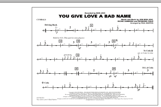 You Give Love a Bad Name - Cymbals (Marching Band)
