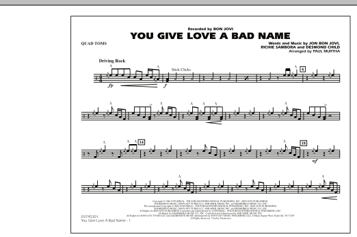 You Give Love a Bad Name - Quad Toms (Marching Band)