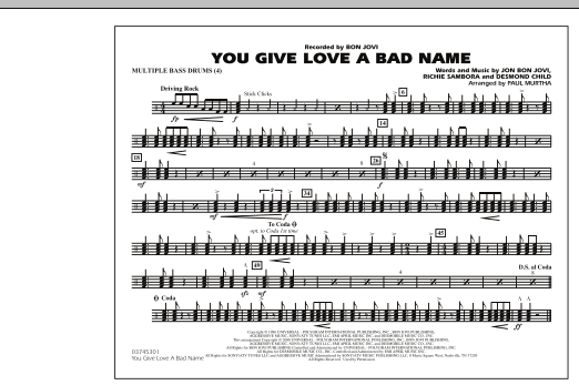 You Give Love a Bad Name - Multiple Bass Drums (Marching Band)