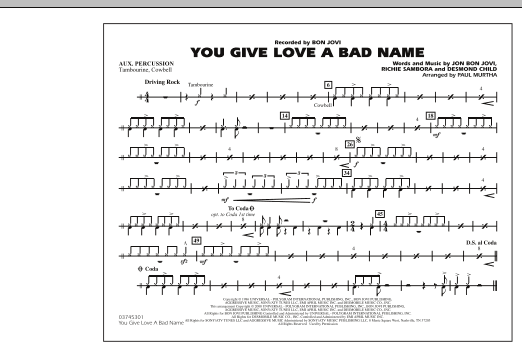 You Give Love a Bad Name - Aux Percussion (Marching Band)