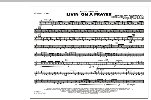 Livin' on a Prayer - Eb Baritone Sax (Marching Band)