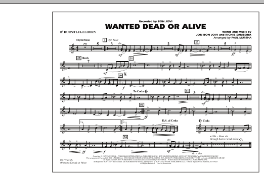 Wanted Dead or Alive - Bb Horn/Flugelhorn (Marching Band)