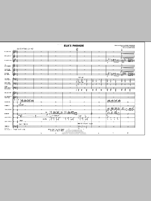 Elk's Parade (COMPLETE) sheet music for marching band by Paul Lavender and Bobby Sherwood. Score Image Preview.