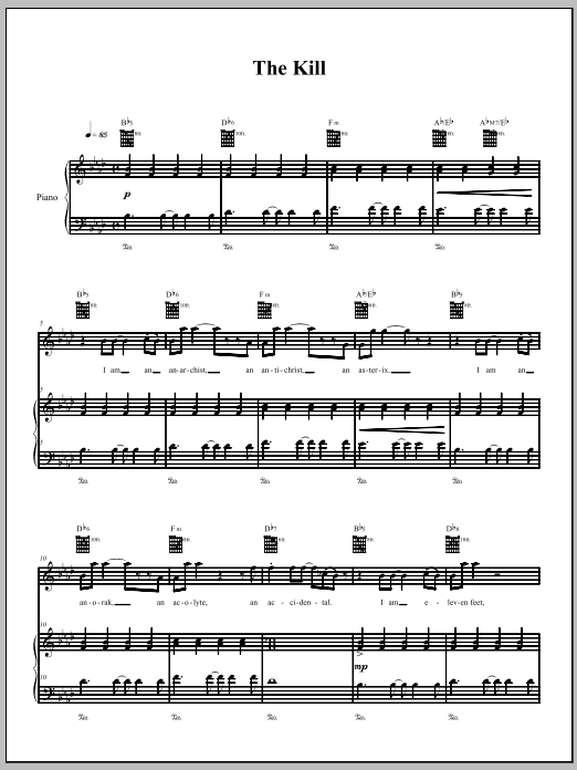 The Kill (Piano, Vocal & Guitar (Right-Hand Melody))