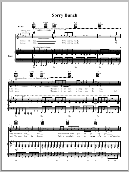Sorry Bunch (Piano, Vocal & Guitar (Right-Hand Melody))