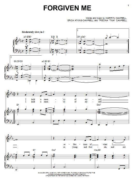 Partition piano Forgiven Me de Mary Mary - Piano Voix Guitare (Mélodie Main Droite)