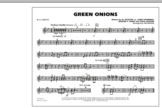 Green Onions - Bb Clarinet (Marching Band)