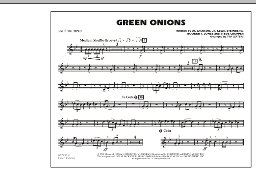 Green Onions - 3rd Bb Trumpet (Marching Band)