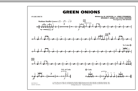 Green Onions - Snare Drum (Marching Band)