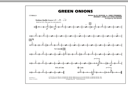 Green Onions - Cymbals (Marching Band)
