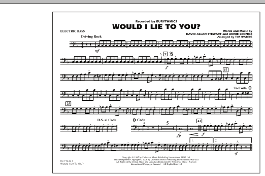 Would I Lie to You? - Electric Bass (Marching Band)