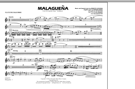 Malaguena - Flute/Picc./Oboe (Marching Band)