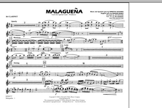 Malaguena - Bb Clarinet (Marching Band)