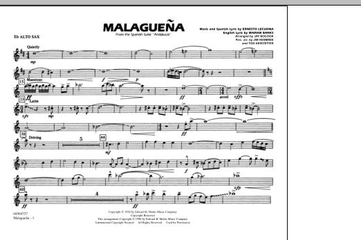 Malaguena - Eb Alto Sax (Marching Band)