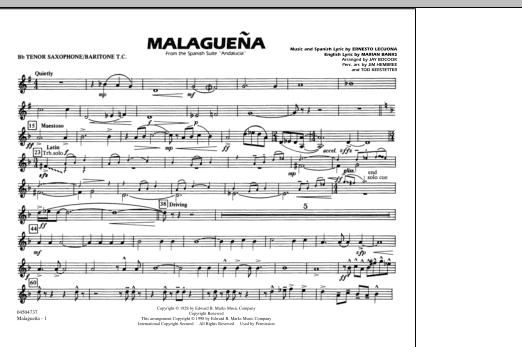 Malaguena - Bb Tenor Sax/Baritone TC (Marching Band)