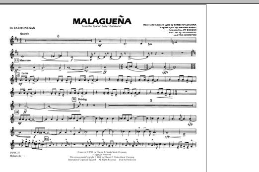 Malaguena - Eb Baritone Sax (Marching Band)