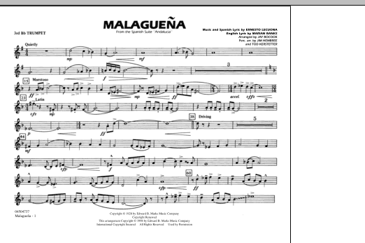 Malaguena - 3rd Bb Trumpet (Marching Band)