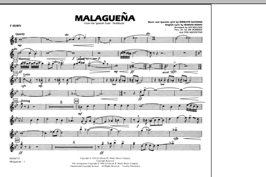 Malaguena - F Horn (Marching Band)